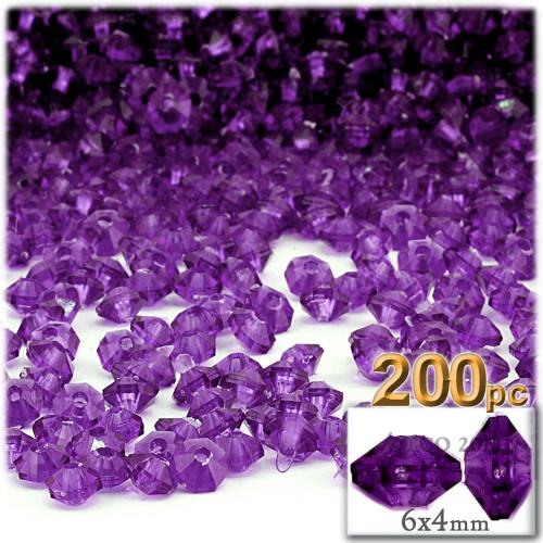 Plastic Rondelle Beads, Transparent, 6mm, 200-pc, Dark Purple