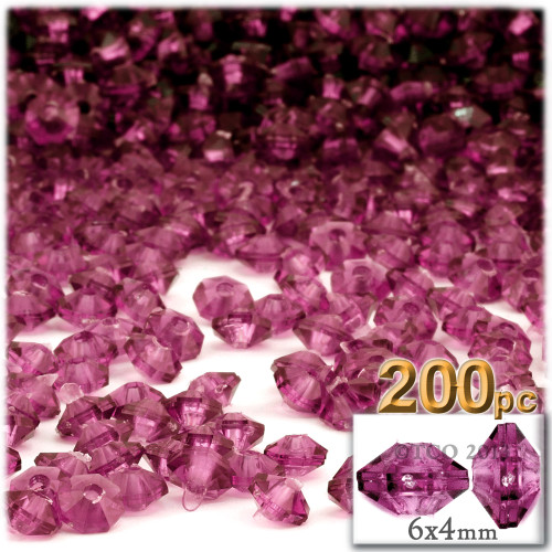 Plastic Rondelle Beads, Transparent, 6mm, 200-pc, Fuchsia