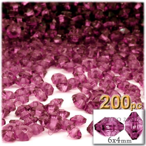 Plastic Rondelle Beads, Transparent, 6mm, 200-pc, Fuchsia