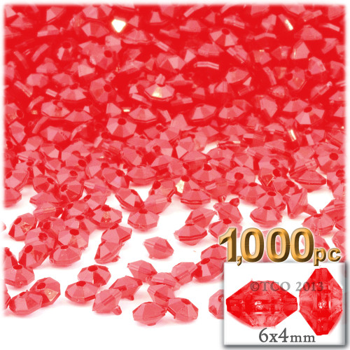 Plastic Rondelle Beads, Opaque, 6mm, 1,000-pc, Red