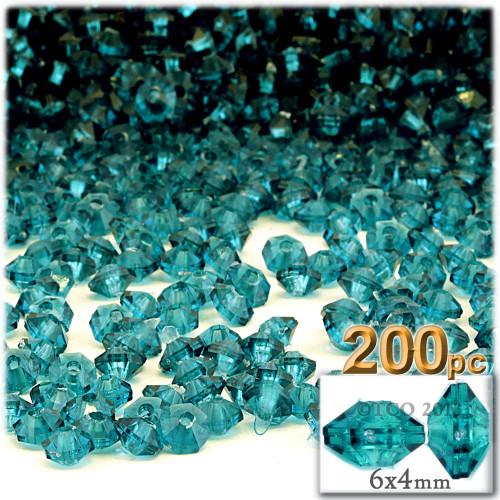 Plastic Rondelle Beads, Transparent, 6mm, 200-pc, Aqua