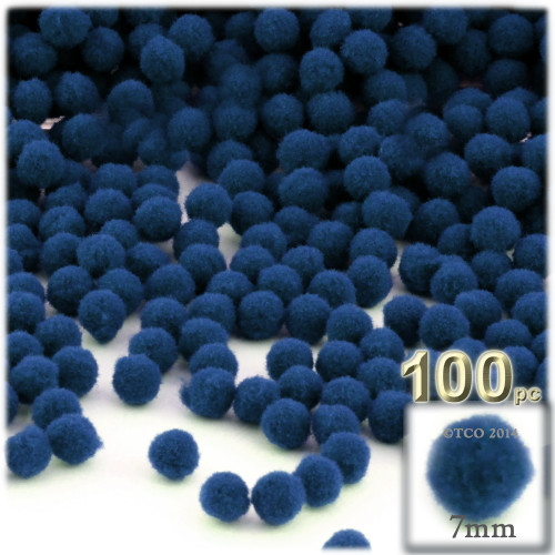 Acrylic Pom Pom, 7mm, 100-pc, Royal Blue