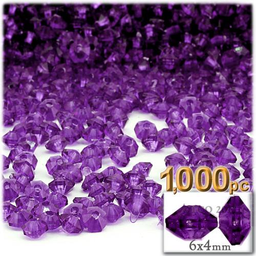 Plastic Rondelle Beads, Transparent, 6mm, 1,000-pc, Dark Purple