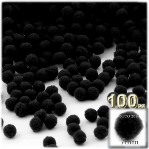 Acrylic Pom Pom, 7mm, 100-pc, Black