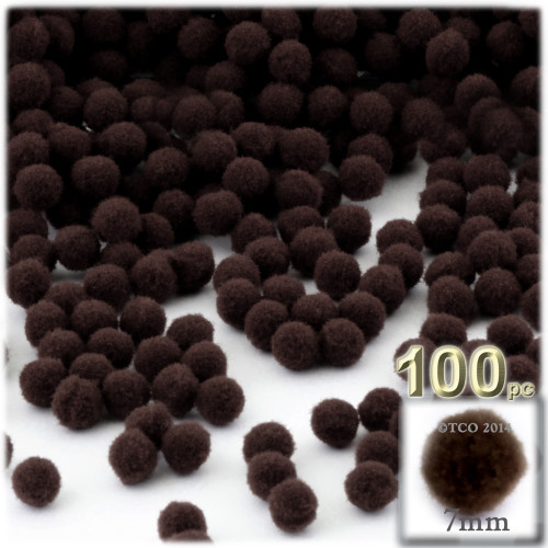 Acrylic Pom Pom, 7mm, 100-pc, Dark Brown