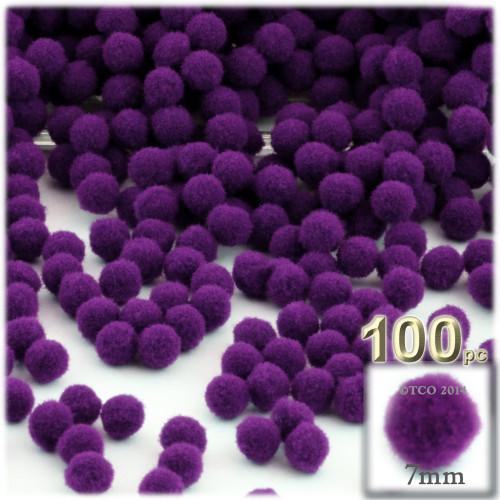 Acrylic Pom Pom, 7mm, 100-pc, Purple