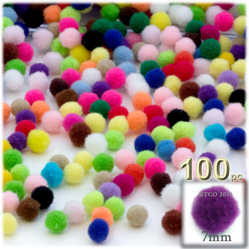 Acrylic Pom Pom, 7mm, 100-pc, Multi Mix