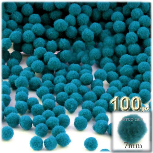 Acrylic Pom Pom, 7mm, 100-pc, Turquoise Blue