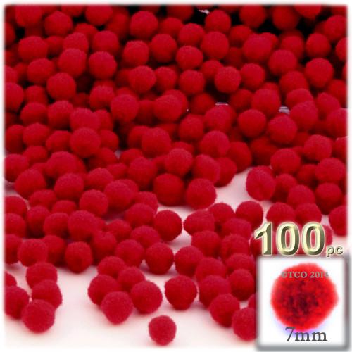 Acrylic Pom Pom, 7mm, 100-pc, Red