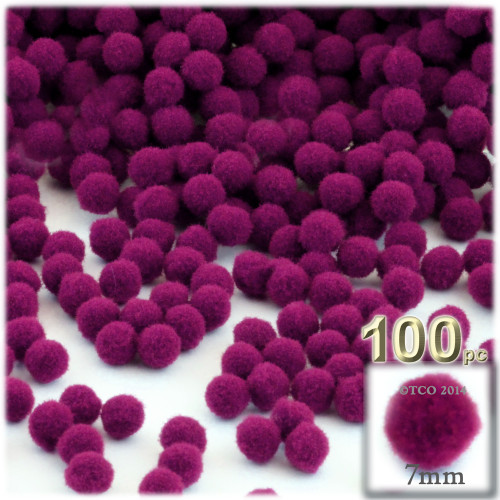 Acrylic Pom Pom, 7mm, 100-pc, Fuchsia