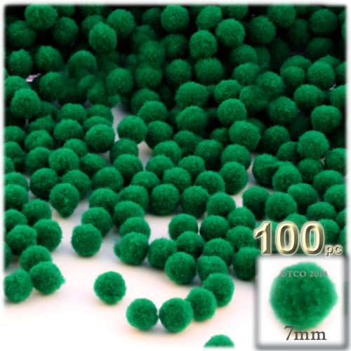 Acrylic Pom Pom, 7mm, 100-pc, Emerald Green