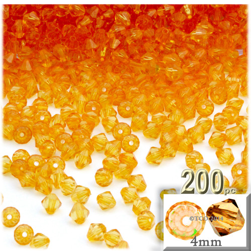 Plastic Bicone Beads, Transparent, 4mm, 200-pc, Sun Yellow