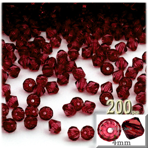 Plastic Bicone Beads, Transparent, 4mm, 200-pc, Devil red Wine