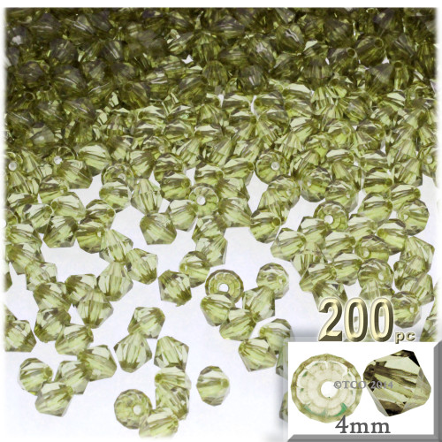 Plastic Bicone Beads, Transparent, 4mm, 200-pc, Light Olive Green