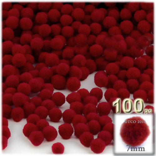 Acrylic Pom Pom, 7mm, 100-pc, Dark Red