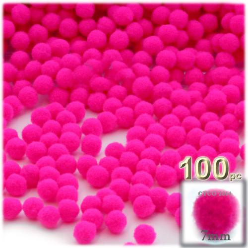 Acrylic Pom Pom, 7mm, 100-pc, Neon Pink