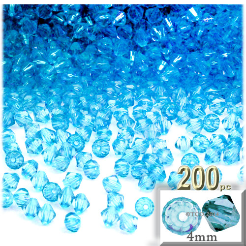 Plastic Bicone Beads, Transparent, 4mm, 200-pc, Light Aqua Blue