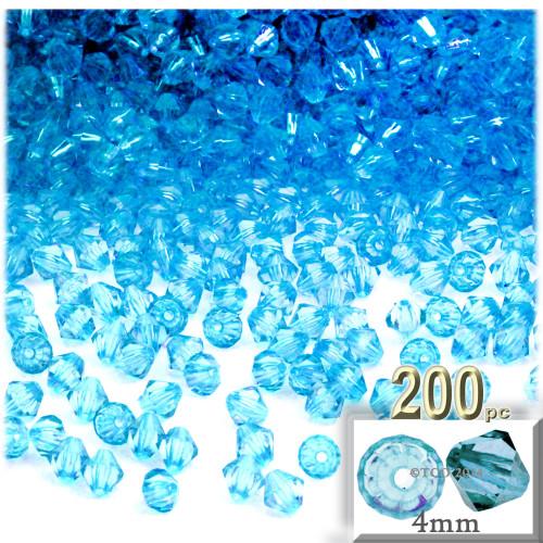 Plastic Bicone Beads, Transparent, 4mm, 200-pc, Light Aqua Blue