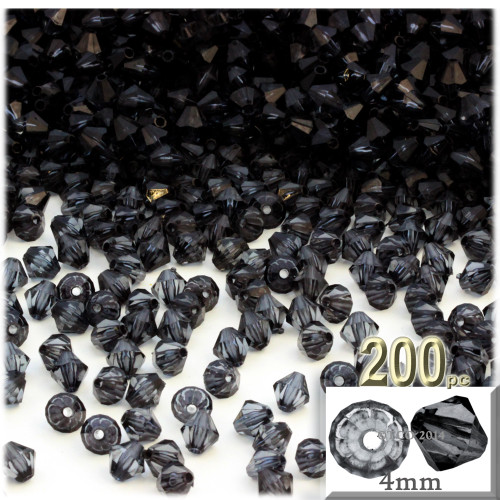 Plastic Bicone Beads, Transparent, 4mm, 200-pc, Charcoal Gray
