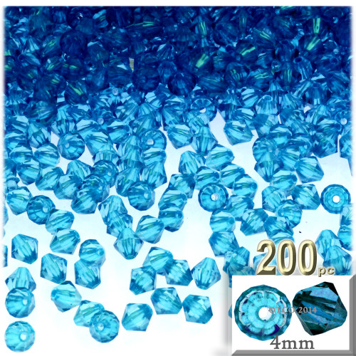 Plastic Bicone Beads, Transparent, 4mm, 200-pc, Aqua