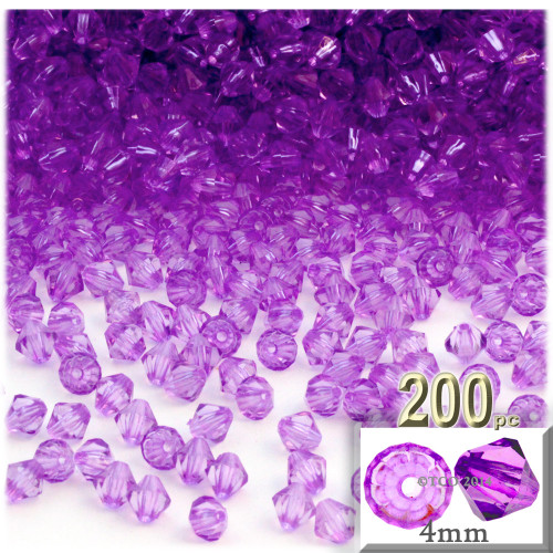Plastic Bicone Beads, Transparent, 4mm, 200-pc, Lavender Purple