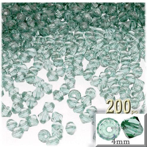 Plastic Bicone Beads, Transparent, 4mm, 200-pc, Light Sea mist