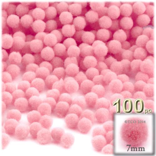 Acrylic Pom Pom, 7mm, 100-pc, Pink