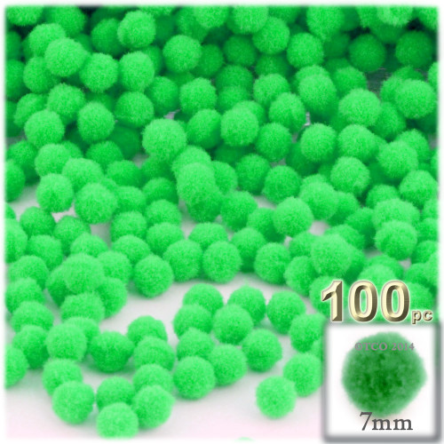 Acrylic Pom Pom, 7mm, 100-pc, Lime Green