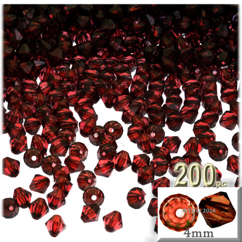 Plastic Bicone Beads, Transparent, 4mm, 200-pc, Beer brown