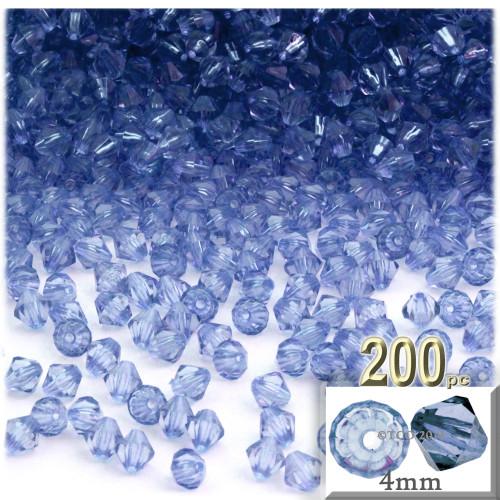 Plastic Bicone Beads, Transparent, 4mm, 200-pc, Light Blue