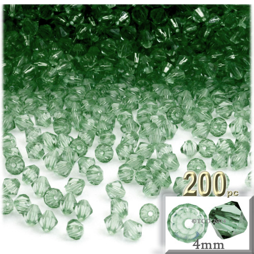 Plastic Bicone Beads, Transparent, 4mm, 200-pc, Light Green