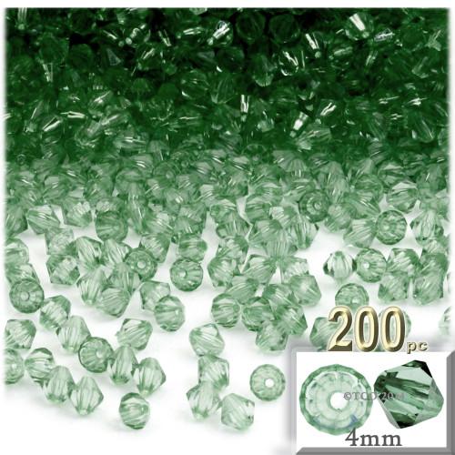 Plastic Bicone Beads, Transparent, 4mm, 200-pc, Light Green