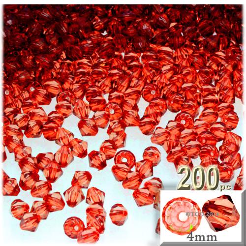 Plastic Bicone Beads, Transparent, 4mm, 200-pc, Orange