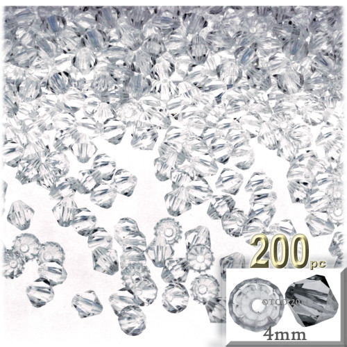 Plastic Bicone Beads, Transparent, 4mm, 200-pc, Clear