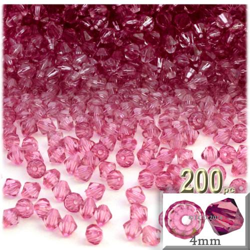 Plastic Bicone Beads, Transparent, 4mm, 200-pc, Pink