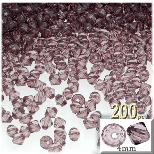 Plastic Bicone Beads, Transparent, 4mm, 200-pc, Light Burgundy