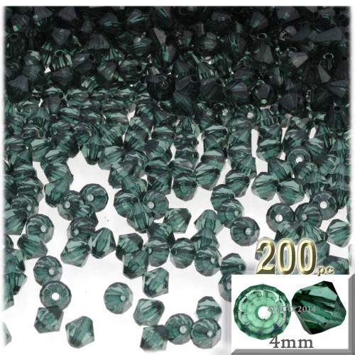 Plastic Bicone Beads, Transparent, 4mm, 200-pc, Sea mist