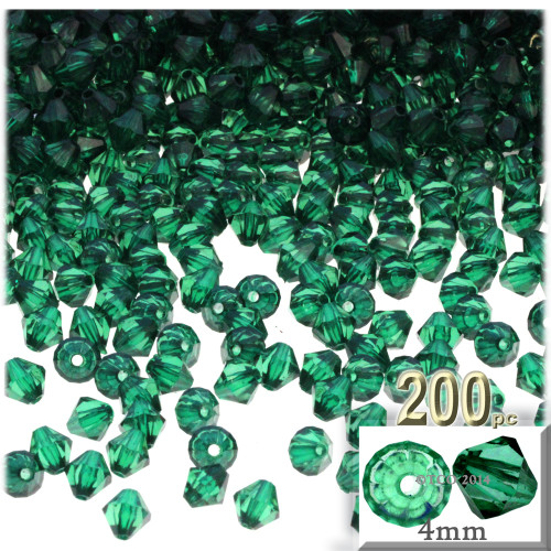 Plastic Bicone Beads, Transparent, 4mm, 200-pc, Emerald Green