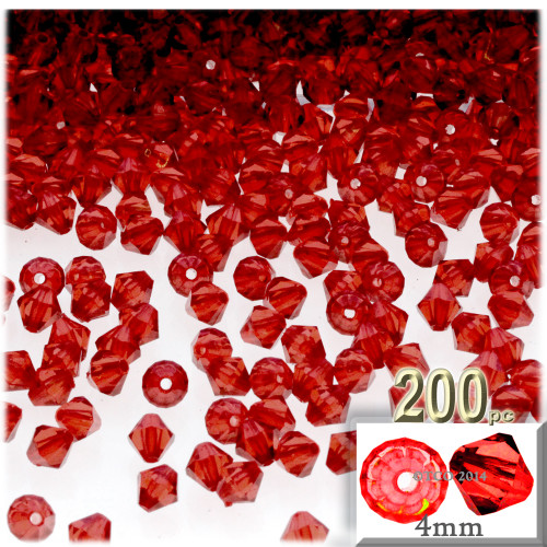 Plastic Bicone Beads, Transparent, 4mm, 200-pc, Ruby Red