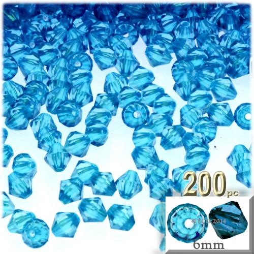 Plastic Bicone Beads, Transparent, 6mm, 200-pc, Aqua