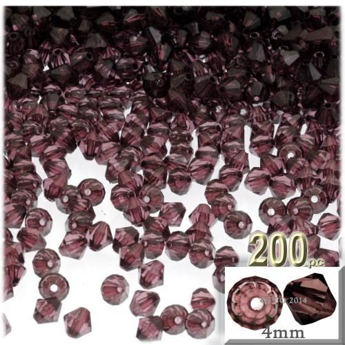 Plastic Bicone Beads, Transparent, 4mm, 200-pc, Burgundy