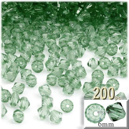 Plastic Bicone Beads, Transparent, 6mm, 200-pc, Light Green