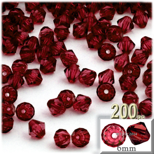 Plastic Bicone Beads, Transparent, 6mm, 200-pc, Devil red Wine