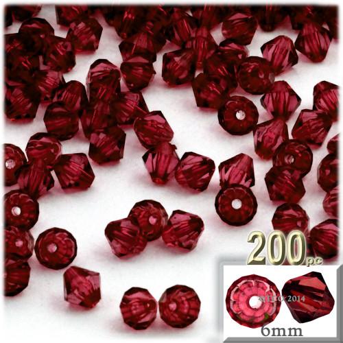 Plastic Bicone Beads, Transparent, 6mm, 200-pc, Devil red Wine