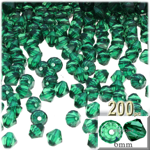 Plastic Bicone Beads, Transparent, 6mm, 200-pc, Emerald Green