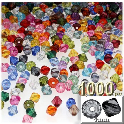 Plastic Bicone Beads, Transparent, 4mm, 1,000-pc, Multi