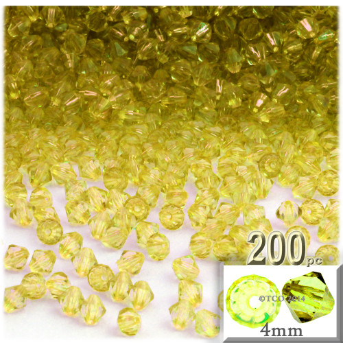 Plastic Bicone Beads, Transparent, 4mm, 200-pc, Yellow