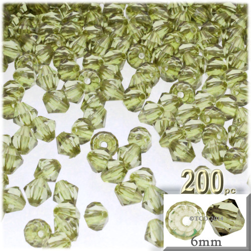Plastic Bicone Beads, Transparent, 6mm, 200-pc, Light Olive Green