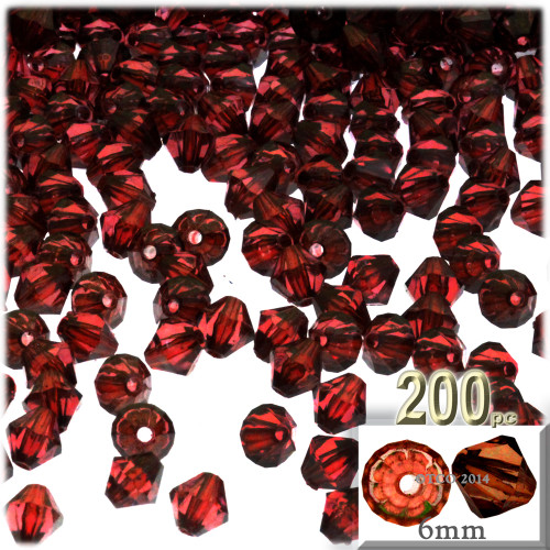 Plastic Bicone Beads, Transparent, 6mm, 200-pc, Beer brown
