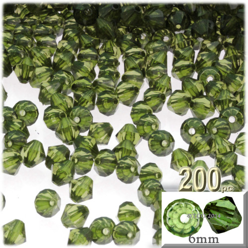 Plastic Bicone Beads, Transparent, 6mm, 200-pc, Olive Green